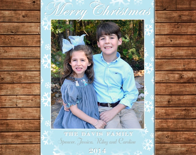Photo Picture Christmas Holiday Card Frozen Snowflake Snow Turquoise Silver Grey - Digital File