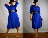Royal Blue Silk Dress - 1980s Shirtwaist Dress in Warm Raw Silk Perfect for Fall Size 9 Large - Flattering and Classy Ladies' Dress