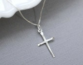Cross Necklace, Sterling Silver Cross Necklace, Tiny Cross Necklace, Sterling Silver Cross Pendant on Sterling Silver Necklace Chain