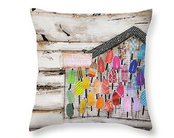 Colorful Existence Lobster Shack throw ART PILLOW, home decor pillow, housewares, maine art, distressed, mixed media, collage