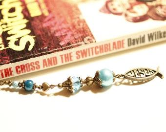 bronze Jesus fish bookmark, metal beaded bookmark, fish charm, blue glass beads, Christian, religious