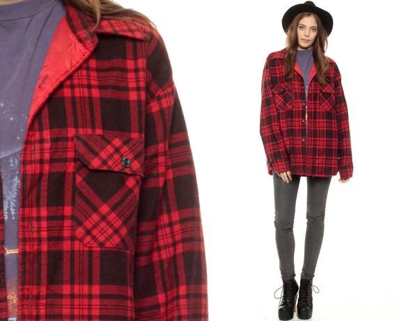chemise carreaux rouges 80 s flanelle veste grunge. Black Bedroom Furniture Sets. Home Design Ideas