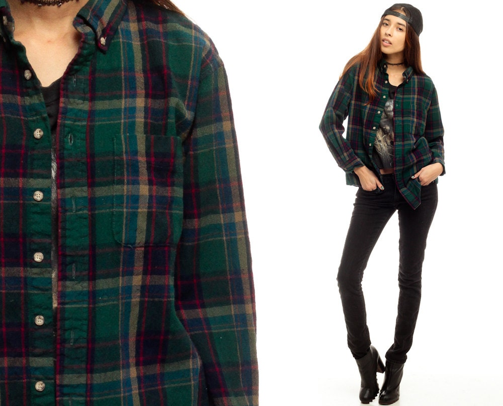 Flannel shirt 80s dark green plaid shirt pendleton for Green and black plaid flannel shirt
