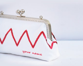 Personalized Bridesmaid Clutch / Bridesmaid Gift Clutch / Wedding Clutch pure white Red Zigzag Chevron(Cosmetic Case, Makeup Pouch)