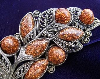 Little Nemo L/N Brooch Faux Goldstone Copper Glitter and Faux Pewter Filigree Vintage in Excellent Condition KJD