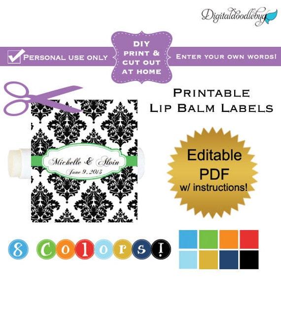diy editable printable lip balm labels no 9 damask wedding. Black Bedroom Furniture Sets. Home Design Ideas