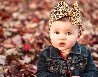 Perfect Leopard Print - Dolly Rosie Scarf - Better than a Head Wrap - Retro Vintage Infant, Baby, Toddler, Girl, Teen, Adult