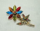 Colorful Vintage Hollycraft Flower Brooch