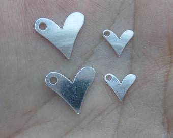 "Sterling Silver Heart Disc 1/2 inch or 1/4"" size(2 hearts)(24gauge or 19 gauge)"