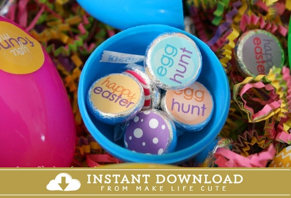 EASTER - Printable Candy Stickers - DIY Easter Egg Hunt Collection- Instant Download - by Make Life Cute