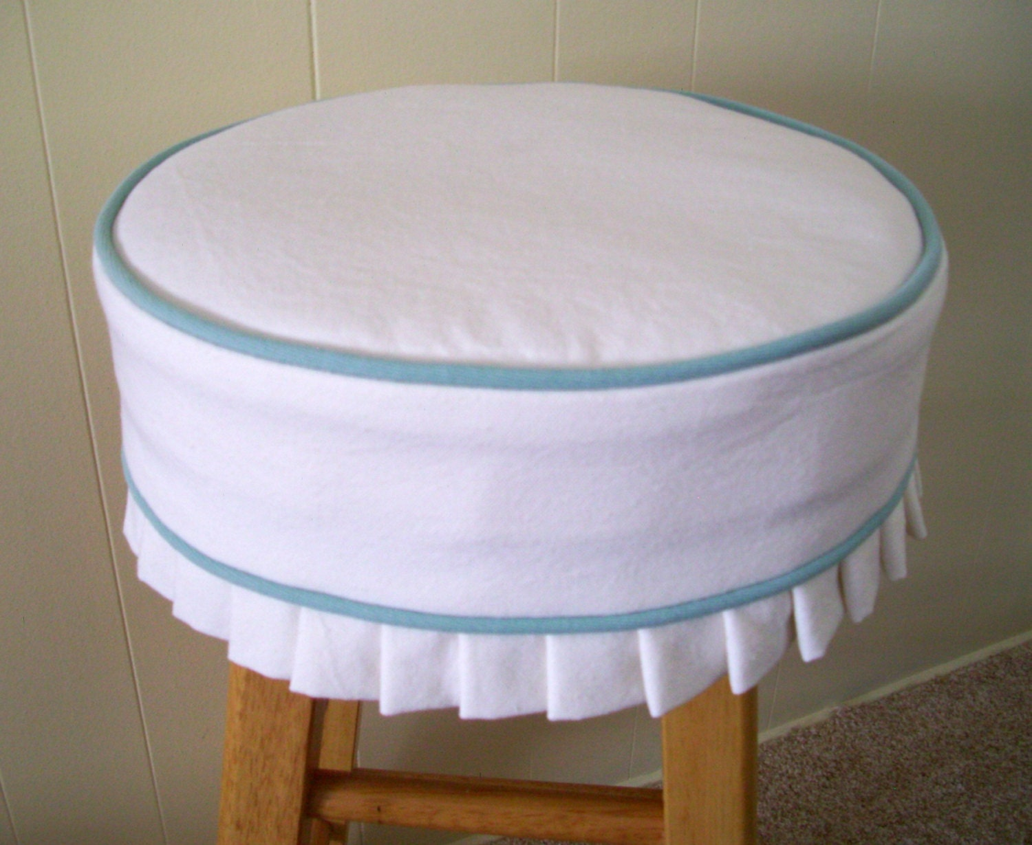 Bar Stool Slipcover And Cushion White With Blue Welt Barstool