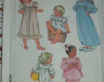 Simplicity 7838/Sewing Pattern/Children's/Girls Nightgown, Pajamas, Sleeper/Size 2-3/Sleepwear