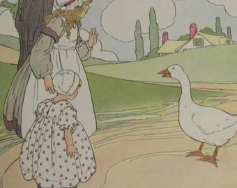 1970s Children's Print-GOOSEY, GOOSEY, Gander-Mother Goose Print-Vintage Book Page-Perfect for Framing