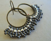 Reserved for Carla--Fan Style Brick Stitched Hoop Earrings in Metallics
