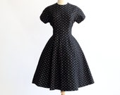 Womens Size M Jolyn Junior Cotton Dress 60s / Floral Print, Stitched Black Cotton, Gored Skirt