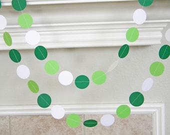 Paper Garland, White Lime Green Birthday Party Decorations, Irish Bridal Wedding Decor, Lime Green Shower, Graduation Photo Prop
