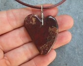 Heart jewelry - Red Jasper & Hematite pendant necklace - dark red love heart in natural stone