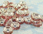7mm Pink Rhinestone Spacer Beads Discs Silver 30pcs (44834) Rondelle Bulk Jewelry Supplies Findings for Big Hoop Earrings Bracelets Necklace