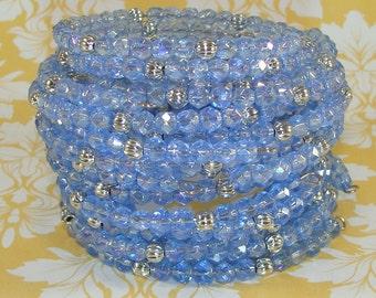 6 Iridescent Light Blue Crystal Bracelet Set Faceted Fire Polish Silver Bead Bangle Memory Wire Stocking Stuffer Party Favor Bulk Beaded