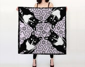 Black and White Tuxedo Cat Silk or Chiffon Scarf