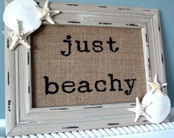 Beach Decor Just Beachy Wall Sign - Nautical Decor Wall Sign - Starfish Sign - Seashell Wall Sign- Beach House Decor - #JBSIGN