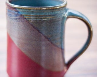 Handmade Ceramic Coffee Mug -- Blue Red hand thrown clay pottery mug -- Ceramic mug pottery coffee mug