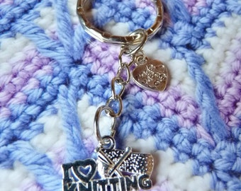 Brand New, Hand Made - 'I Love Knitting' Keyring