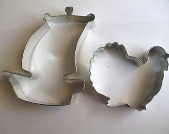 """Mayflower ship and Tom Turkey 3.75""""  Cookie Cutter for Thanksgiving"""