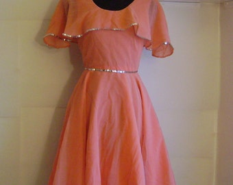 Vintage dance dress with circle skirt // Tangerine size small