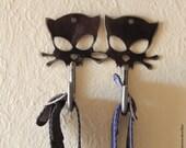 Outlaw Kitty Wall Hook by WATTO Distinctive Metal Wear, Two Cats Wall Hook, Cat Hook, Metal Cat / Dog Leash Hook / Key Hook / Cat Lover Gift