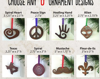 6 Rustic Ornaments by WATTO Distinctive Metal Wear / Wedding Favor / Wedding Decor/ Christmas Gifts/ Ornaments/ Decorations