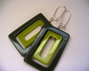 Vintage Green Earrings Geometric Rectangle 1960s Lucite Upcycled