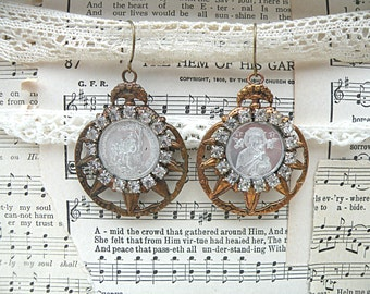 assemblage earrings recycle medal religious rhinestone