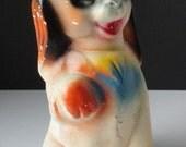 Vintage Chalk Dog. Carnival Prize Chalkware Dog Figurine.