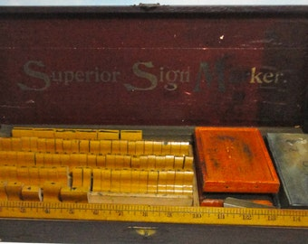 1920s-1930s Superior Sign Marker. Box Set.