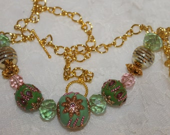 Green and Gold Necklace on a Gold Chain