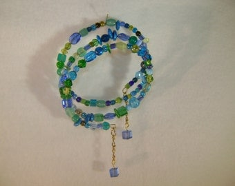 Turquoise Green and Blue Wrap Bracelet