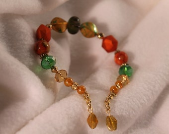 Green and Orange Beaded Bracelet