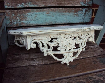 Vintage Shabby Chic Shelf Bed Crown Shelf Hollywood Regency Style Distressed chippy antique off white
