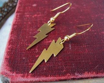 Lightning Bolt Earrings Brass Dangle Mod