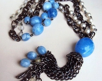 Vintage Beaded Chain Tassel Necklace Swirled Thermoset Lucite Beads Pearls Antique Silver Metal 1960s Double Chain