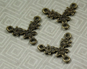 free shipping in UK - pack of 10 Antique Bronze Branch Pendant or Connectors / Links