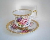 Vintage Serving Teacup Elizabethan Floral Bone China Teacup and Saucer Made in England