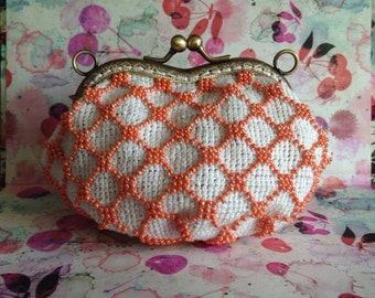 Orange Beaded Coin Purse - Shoulder chain strap/ Metal detachable/ Metal frame/ Kiss lock purse/ Change/ Glass bead/ Wallet