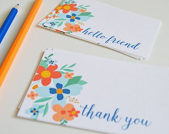 Hello Friend and Thank You Mini Cards, Mini Note cards, Gift tags, floral, flowers, bouquet, 2.75 x 4.25 inches