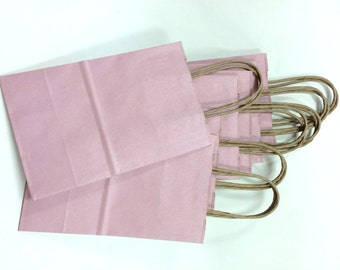 Set of 10 - Pink Exterior Brown Kraft Paper Handled Gift Bags - 5 x 3 x 8 Inches