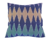 Indonesian Ikat, Pillow, Cushion, Hand Woven, Hand Dyed, 16 x 16, Blue, Green