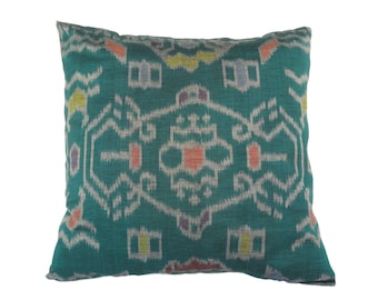 Indonesian Ikat, Pillow, Cushion, Hand Woven, Hand Dyed, 16 x 16, Green