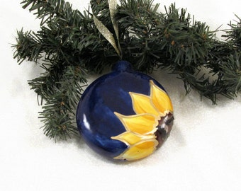 Ceramic Sunflower Christmas Ornament