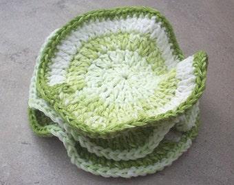 "Large Cotton Scrubbies  Set of 3 Crocheted Cotton Face Scrubbies  Cotton Dish Cloths  Cotton Dish Rags  5 1/2"" Across"